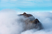 'View from Sgurr Alasdair towards Sgurr Dearg and the Inaccessible Pinnacle emerging from cloud in the Black Cuillin; Isle of Skye, Scotland'