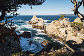 'Waves crashing against rocks near North Point, Point Lobos State Reserve; Carmel, California, United States of America'