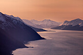 'Turnagain Arm and Seward Highway view from a helicopter; Alaska, United States of America'