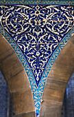'Blue tile mosaic on a wall; Istanbul, Turkey'