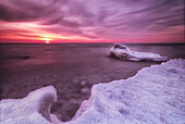 'Sunrise and ice on the shores of Lake Michigan; Wisconsin, United States of America'