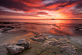 'Dramatic sunrise at Cave Point with brilliant colours; Wisconsin, United States of America'