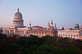 'View towards the Capitolio, Gran Teatro and Hotel Inglaterra at daybreak; Havana, Cuba'