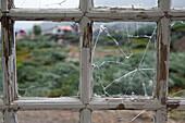 Broken window glass in a wooden house, Qaqortoq, Kujalleq, Greenland
