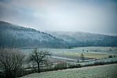 Mist and hoar frost during late autumn near Schelklingen close to Blaubeuren, Schmiech valley, Swabian Alp, Baden-Wuerttemberg, Germany
