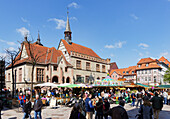 Market and old Town Hall, Goettingen, Lower Saxony, Germany