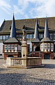Fountain and old Town Hall on the Market square, Einbeck, Lower Saxony, Germany
