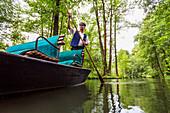 Boat tour in Spreewald, Spree, UNESCO biosphere reserve, Lehde, Luebbenau, Brandenburg, Germany, Europe