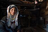 Akha woman in traditional clothes near Kyaing Tong, Kentung, Shan State, Myanmar, Burma