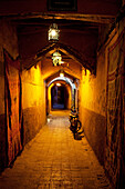 Alley in the medina at night, Marrakech, Morocco