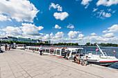 Excursion boats on lake Binnenalster, Jungernstieg terrace, Hamburg, Germany