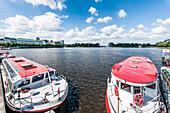 Excursion boats on lake Binnenalster, Jungfernstieg terrace, Hamburg, Germany