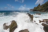Pacific Ocean waves crashing onto rocks, Pitcairn, Pitcairn Group of Islands, British Overseas Territory, South Pacific
