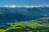 View over Inn Valley with Kufstein to Zillertal Alps, Spitzstein, Chiemgau Alps, Tyrol, Austria