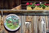 Target at alpine hut, Aueralm, Bad Wiessee, Bavarian Prealps, Upper Bavaria, Bavaria, Germany