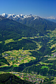 View from Tschirgant over Pitz valley to Oetztal Alps, Mieming Range, Tyrol, Austria