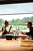 Guests in the restaurant Le Cor de Chasse, food hotel by Michelin starred gourmet chef Mario Elias, manor house built in 1681 in Durbuy, Rue des Combattants 16, Weris, Wallonia, Belgium