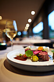 Venison on pearl barley, topinambur and sauce made of local beer, Le Cor de Chasse, food hotel by Michelin starred gourmet chef Mario Elias, manor house built in 1681 in Durbuy, Rue des Combattants 16, Wéris, Wallonia, Belgium