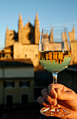 Hand holding glass of white wine with mirrored reflection of La Seu Palma Cathedral, Palma, Mallorca, Balearic Islands, Spain, Europe