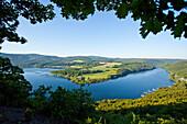 View of Lake Edersee from Kahle Hard Route viewpoint near Bringhausen in Kellerwald-Edersee National Park, Lake Edersee, Hesse, Germany, Europe