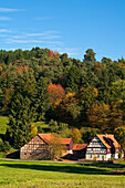 Lengeltal valley in autumn with Oberste Muehle watermill in Kellerwald-Edersee National Park, Frankenau, Hesse, Germany, Europe
