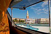 View through window of houseboat in Bacino San Marco with Campanile tower and Palazzo Ducale Doge's Palace, Venice, Veneto, Italy, Europe