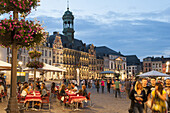 Vivid Grand Place square at dusk, guild hall, Mons, Hennegau, Wallonie, Belgium, Europe
