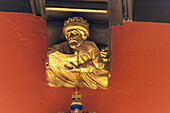 Golden figure by Schlutter in the guild hall, Grand Place, Mons, Hennegau, Wallonie, Belgium, Europe