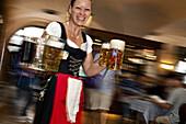 Waitress carrying beer in the Hofbraeuhaus, Munich, Bavaria, Germany, Europe