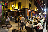 Nightlife in the Santa Ana district, Madrid, Spain