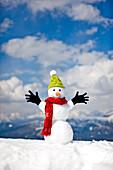 Snowman wearing cap, scarf and gloves, Kreischberg, Murau, Styria, Austria