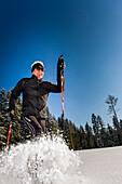 Cross-country skier in deep snow, Ramsau am Dachstein, Styria, Austria