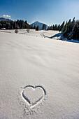Heart shape in the snow, Ramsau am Dachstein, Styria, Austria
