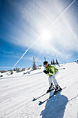 Woman downhill skiing, Fageralm, Salzburg, Austria