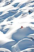 Skier downhill skiing, Gargellen, Montafon, Vorarlberg, Austria