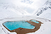 Hotel pool in snow, Portillo, Valparaiso Region, Chile