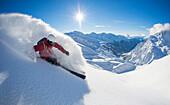 Skier downhill skiing, Zuers, Lech, Vorarlberg, Austria