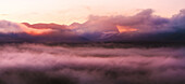 Sunset on Gran Sasso, with coloured clouds, Italian Appennines, Abruzzo