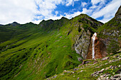 Waterfalls along the paths that salvono to the Hintertux glacier in the Zillertal, Tyrol