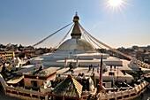 'Boudhanath Stupa at sunset lights in Khatmandu, Nepal; the largest and most beautiful in the world.'