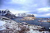 Panorama of Reine city, view from above, with its islands and snow-capped mountains in the background, Lofoten islands -Norway