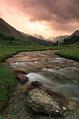 Lauzanier Valley, Parc National du Mercantour during a summer storm at the end of the day.