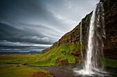 The waterfall Seljalandsfoss, Iceland.