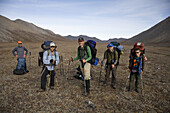 Peter Danzig, Mark Paye, Larry Rodman, George Savtagy pose for a group photo in the upper elevations of the Philip Smith Mountains in Alaska's Arctic National Wildlife refuge, on August 27, 2008.