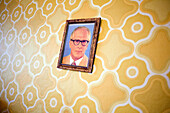 Ostel - GDR-themed hotel  At the Ostel, each room is monitored by the watchful gaze of German Communist Party leader Erich Honecker.  Berlin, October 2008