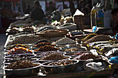 Dunhuang, Gansu Province, China - September 16, 2009: Dried fruit and nuts being sold at the market in Dunhuang.