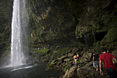 Tourists visit the Misol Ha waterfall in Salto de Agua, Chiapas, Mexico, February 20, 2010.