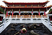 'Wenwu Temple, near Sun Moon Lake, West-Central Taiwan, October 21, 2010.  The architecture of the temple has the palace style of northern China.  A large and imposing structure, with three separate halls. On the second floor of the front hall is a shrine