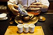 Tea preparation at a traditional tea house in the Da-an district of Taipei, Taiwan, November 10, 2010.