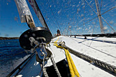 On board Alfa Romeo during a test sail in Sydney, Australia in preparation for the Rolex Sydney to Hobart 2009. 'Alfa Romeo', the second yacht built by New Zealand skipper and owner, Neville Crichton, to carry the name of the Italian car maker, was penned